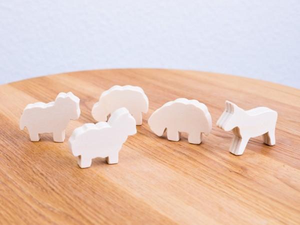 Holzfigurenset Hund und Schafe handmade Allgäu 1