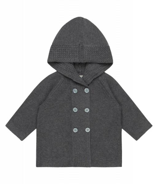 Baby Strickjacke mit Kapuze, dark grey aus 100% Bio-Baumwoll-Strick von Sense Organics