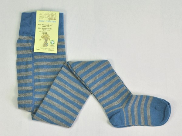 Kinderstrumpfhose, bergblau-naturgrau geringelt 1 Stadelmann Natur Online Shop