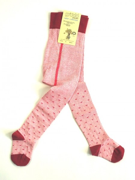 Babystumpfhose, rosa mit Herzchen, sangria-babyrosa-cyclame 1