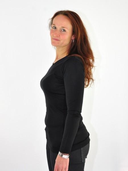 Langarmshirt schwarz Kokon 1