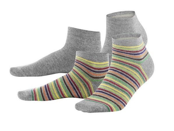 Kinder Sneaker Socken, 2er Pack, rainbow/grey melange, Agave, Living Crafts, 3477, 217