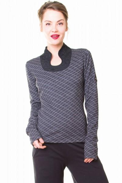 Pullover mit elegantem Kragen, schwarz/grau 1 Stadelmann Natur Online Shop