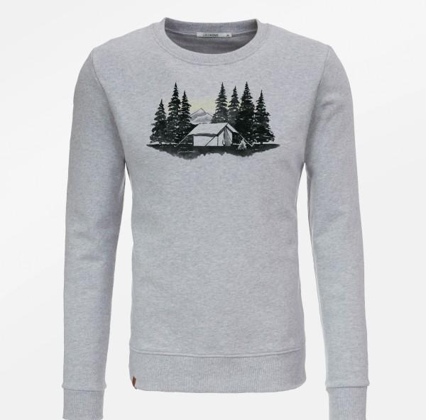 """Sweatshirt """"Forest Tent"""", heather grey, 100%BioBaumwolle"""