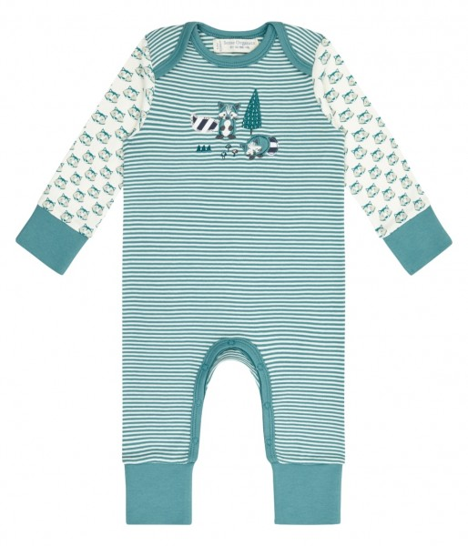 Baby Tag- und Nachtanzug, Raccoon/Stripes; 100% BioBaumwolle, Sense Organics