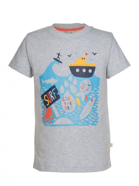 "Kindershirt ""Atlantik"", grau meliert, T-Shirt Boat, Boot, 3474, Atlantic, Surfen"