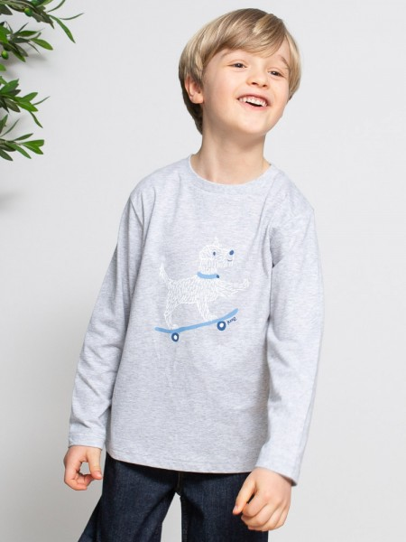 Langarmshirt mit Hund auf Skateboard, grau von Kite Clothing