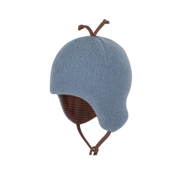 Fleecemütze für Babys, dusty blue aus Schurwolle und Baumwolle von pure pure bx Bauer