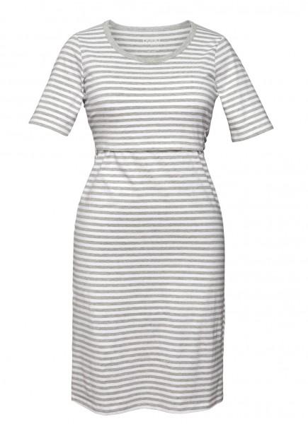Nachthemd für Schwangerschaft/Stillzeit, weiß/grau-melange 1 Stadelmann Natur Online Shop