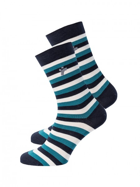 "recolution, Socken ""Stripes"", petrol/navy/white, Stadelmann Natur"