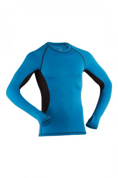 Herren Sport Shirt langarm, sky/black, Wolle/Seide, Engel Sports