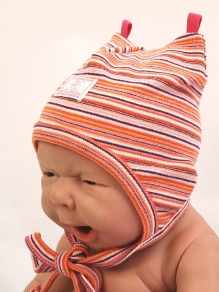 """Baby- und Kindermütze """"Ida"""", Streifen himbeere-pink-weiß 1 Stadelmann Natur Online Shop"""