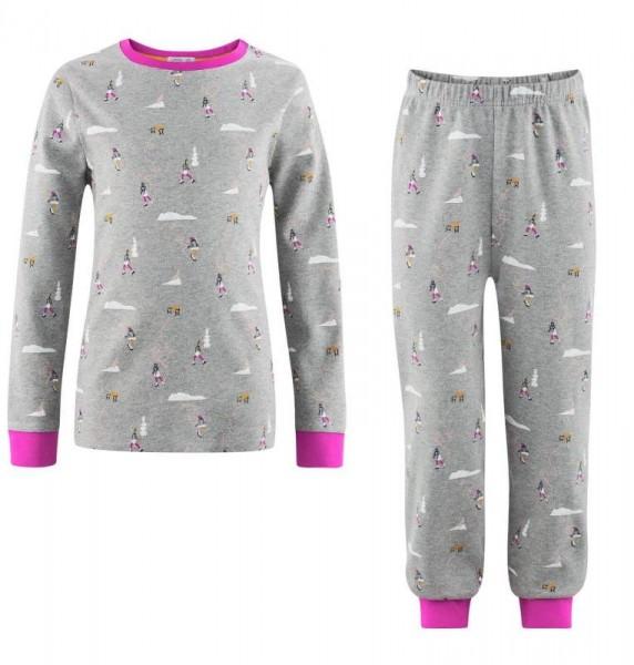 Kinder Schlafanzug, Hazes, grey melange/pink