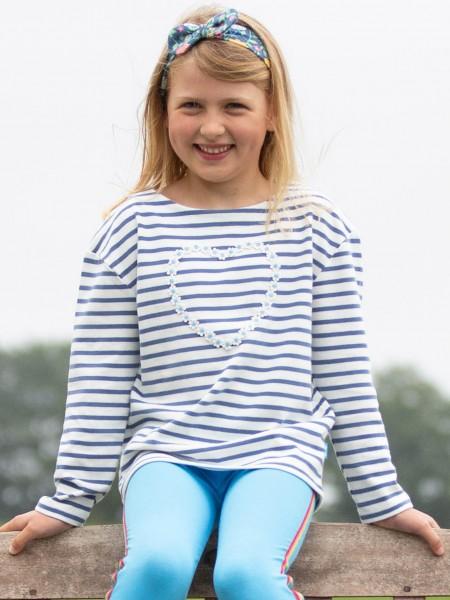 Blumen-Herz Shirt, blau-weiß gestreift von Kite Clothing