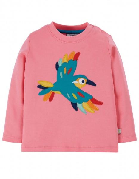 Baby- und Kindershirt, guave pink/Vogel, 100% Bio-Baumwolle, Frugi