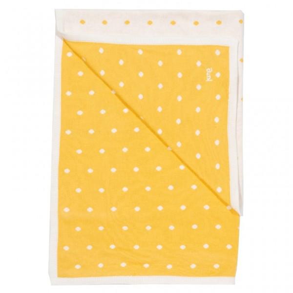 Baumwollstrickdecke von kite, gelb mit Punkten