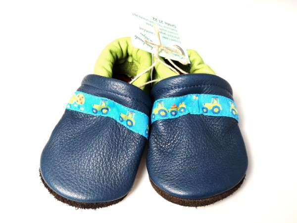 Leder Schlupfschuhe, blau/grün 1 Stadelmann Natur Online Shop