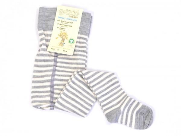 Babystrumpfhose, naturgraumelange-rohweiß, geringelt