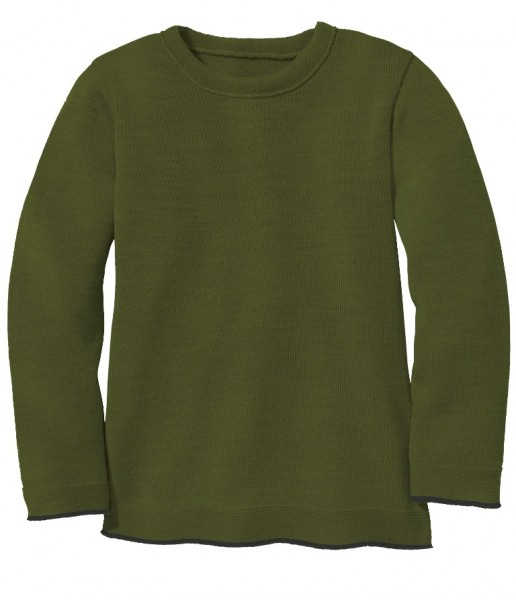 Basic-Strick-Pullover, oliv von Disana 1