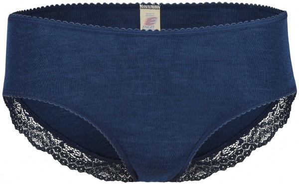 Damen-Panty mit Spitze, marine Wolle und Seide, Engel