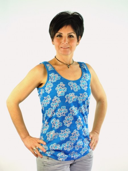 Top Blumenprint, blau, Madness, 7258