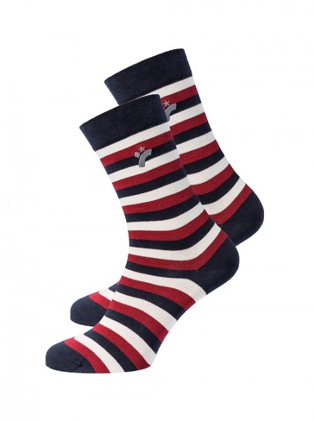 "recolution, Socken ""Stripes"", chilli red/navy/white, Stadelmann Natur"