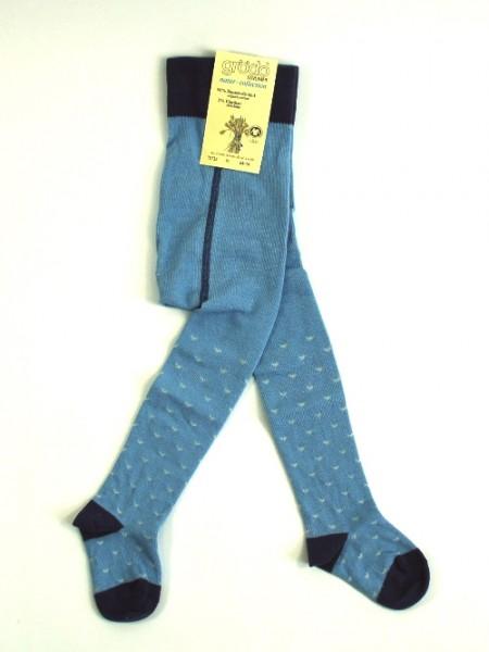 Babystumpfhose, blau mit Herzchen, denim-wasserblau-cyclame 1