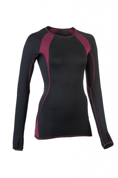 Sport Shirt langarm, black/tango red, Wolle/Seide von Engel Sports