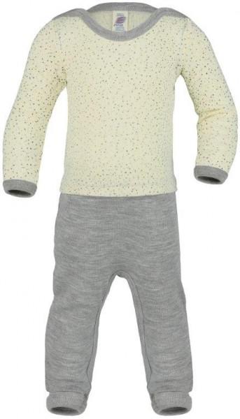 Baby-Overall Feinripp, natur bedruckt, Wolle/Seide, Stadelmann Natur