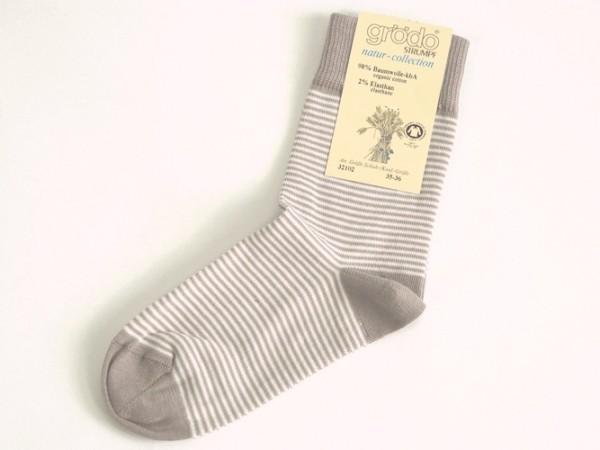 Socke Ringel taupe-ökoweiß grödo