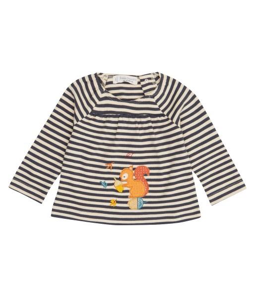 """Baby Shirt """"Squirrel"""", navy-beige aus 100% Bio-Baumwoll-Interlock, Sense Organics"""