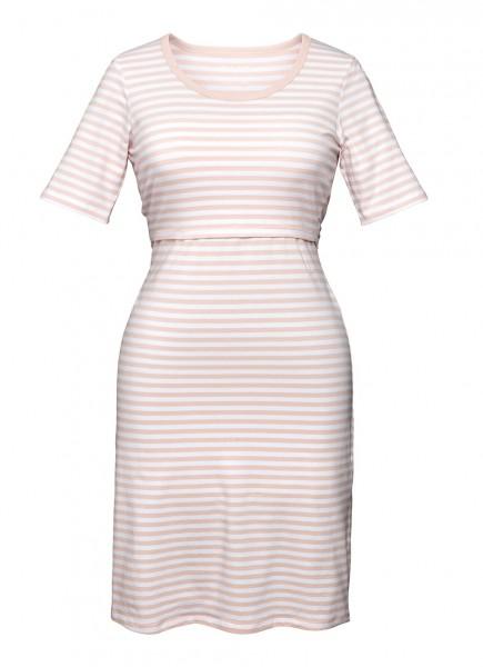 Nachthemd für Schwangerschaft/Stillzeit, weiß/rosa 1 Stadelmann Natur Online Shop