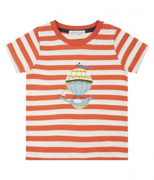 "Kurzarmshirt ""Ibon"", orange/weiß, Stadelmann Natur"