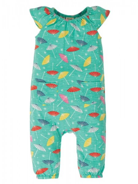 Niamh Gathered Playsuit, Pacific Aqua Parasols, Frugi