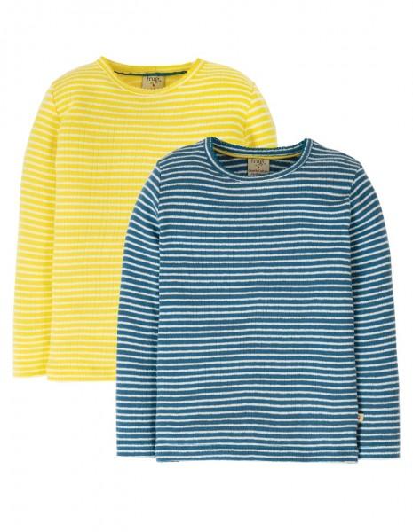 Longsleeve 2er Pack, gelb/blau/gestreift, Stadelmann Natur