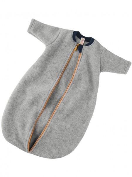Baby-Schlafsack langarm mit Reißverschluss, hellgrau melange