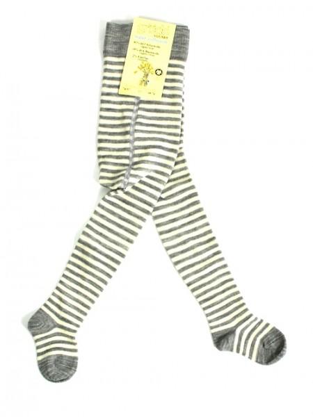 Babystrumpfhose, geringelt naturgrau-rohweiß1