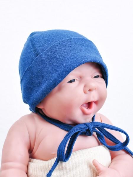 Babymütze aus Seide, saphir