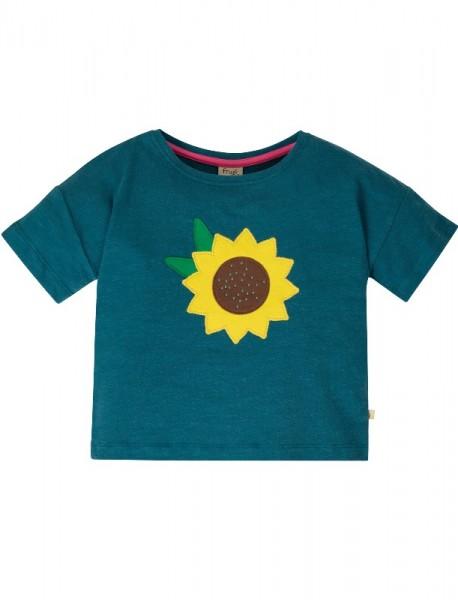 """Kurzarmshirt """"Sonnenblume"""", steely blue"""