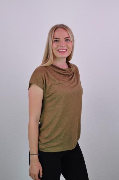 T-Shirt mit Wasserfallausschnitt, sepia brown von Lana 1