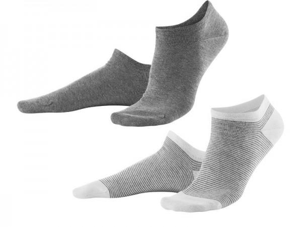 Sneaker Socken, 2er-Pack, grau / weiß-grau, Living Crafts