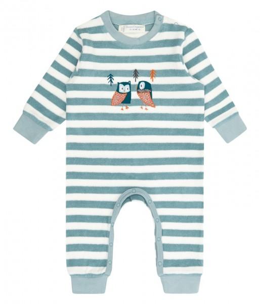 Baby Strampler, steinblau Streifen/Eule, 100% Bio-Baumwolle Sense Organics