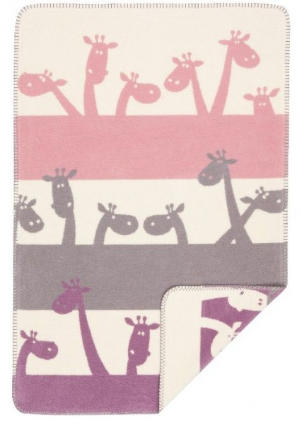 Baby Baumwolldecke, rosa/Giraffen, 100% BioBaumwolle von Richter