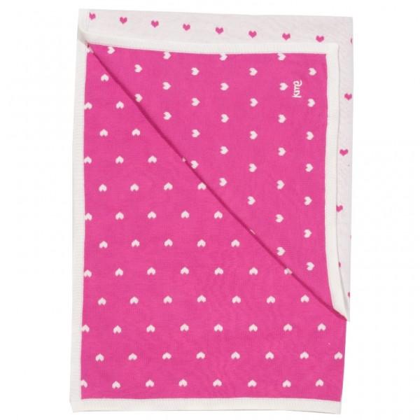 Baumwollstrickdecke von kite, pink mit Herzen