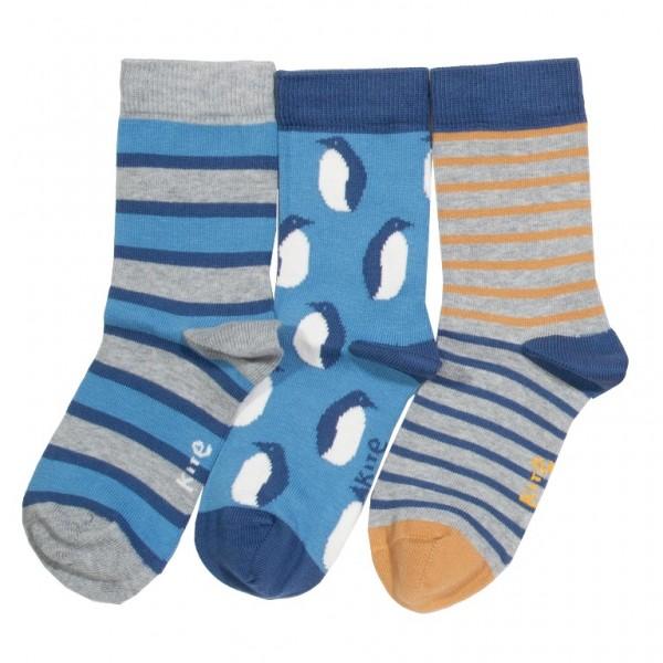 "3er Pack Socken ""Pengiun"", blau/grau, kite"