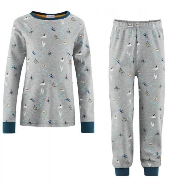 Kinder Schlafanzug, Hazel, grey melange/petrol