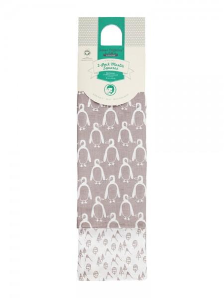 2er Set Mulltücher, Pinguine / Berge von Sense Organics