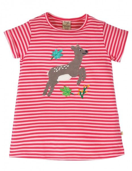 Kurzarmshirt mit Applikation, pink/Streifen, Stadelmann Natur