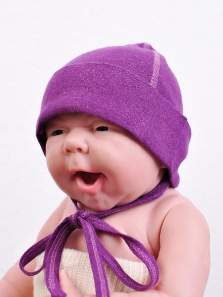Babymütze aus Seide, prune