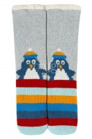 "Kuschel Socken ""Pinguin"", grau/bunt"